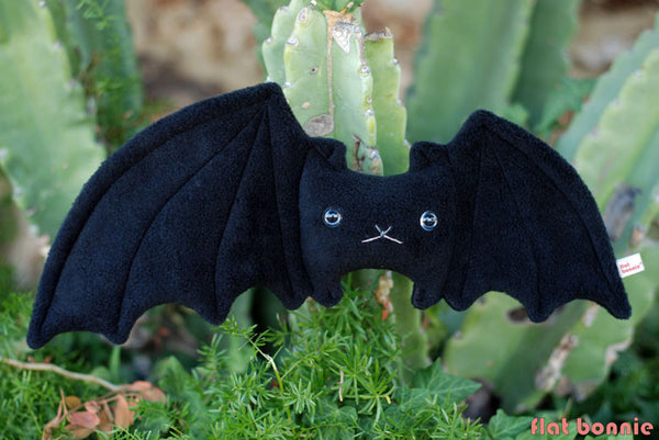 Bat stuffed animal - Handmade plush doll - Lefty the Bat - Plush Stuffed Animal - Flat Bonnie - 3