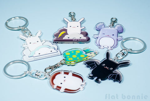 Flat Bonnie Keyring - 5 designs - with keychain or clasp hook - Keyring - Flat Bonnie - 1