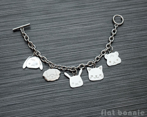 Cute animal charm bracelet - Kawaii jewelry - Bunny, Dog, Cat, Guinea Pig - 2