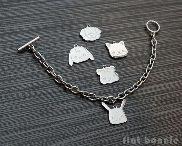 Cute animal charm bracelet - Kawaii jewelry - Bunny, Dog, Cat, Guinea Pig - 1