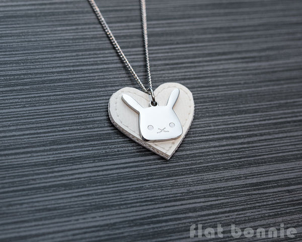 Cute animal charm necklace with vinyl heart - Kawaii jewelry - Bunny, Dog, Cat, Guinea Pig - 2
