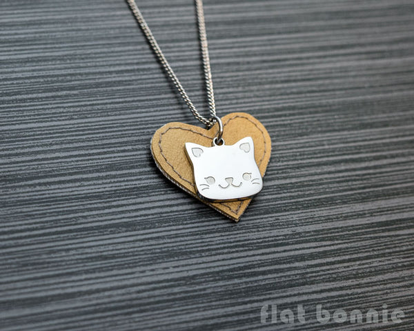 Cute animal charm necklace with vinyl heart - Kawaii jewelry - Bunny, Dog, Cat, Guinea Pig - 6