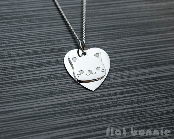 Cute animal charm necklace with metal heart - Kawaii jewelry - Bunny, Dog, Cat, Guinea Pig - 4