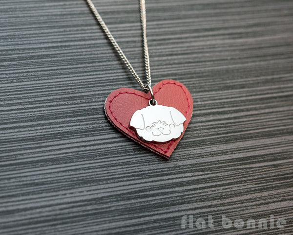 Cute animal charm necklace with vinyl heart - Kawaii jewelry - Bunny, Dog, Cat, Guinea Pig - 5