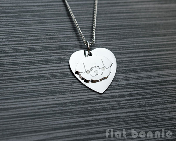 Cute animal charm necklace with metal heart - Kawaii jewelry - Bunny, Dog, Cat, Guinea Pig - 3