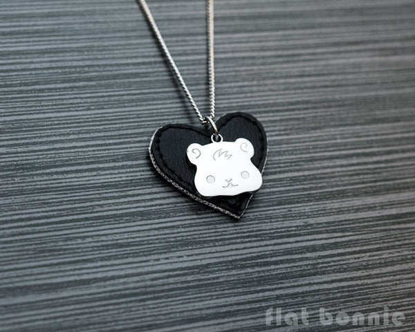 Cute animal charm necklace with vinyl heart - Kawaii jewelry - Bunny, Dog, Cat, Guinea Pig - 4