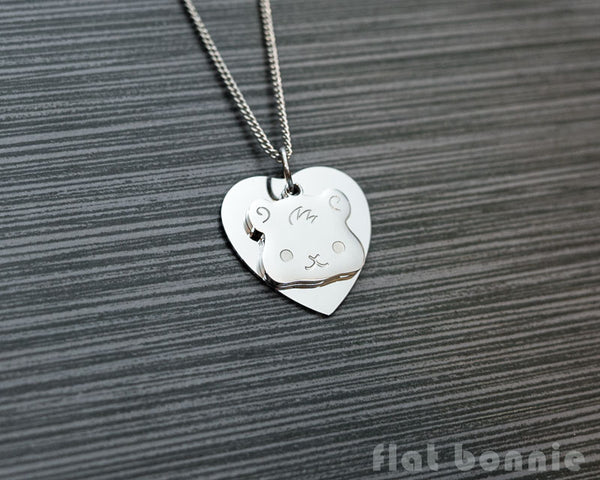 Cute animal charm necklace with metal heart - Kawaii jewelry - Bunny, Dog, Cat, Guinea Pig - 6