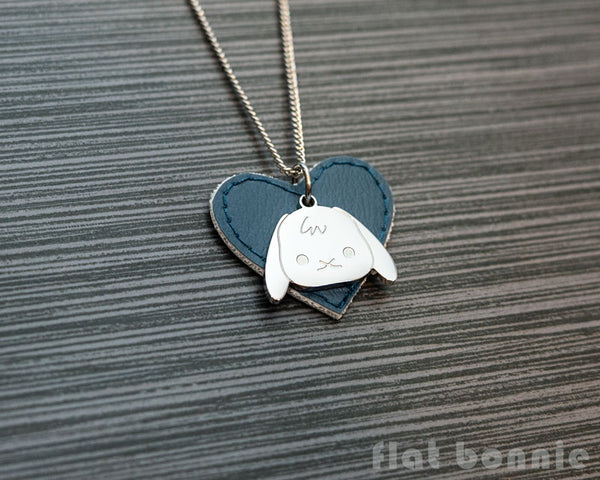 Cute animal charm necklace with vinyl heart - Kawaii jewelry - Bunny, Dog, Cat, Guinea Pig - 3