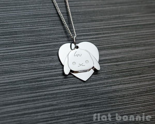 Cute animal charm necklace with metal heart - Kawaii jewelry - Bunny, Dog, Cat, Guinea Pig - 5