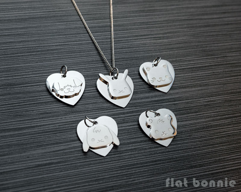 Cute animal charm necklace with metal heart - Kawaii jewelry - Bunny, Dog, Cat, Guinea Pig - 1
