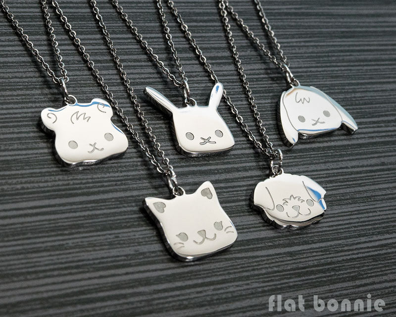 Cute animal charm necklace - Kawaii jewelry - Bunny, Dog, Cat, Guinea Pig - 1