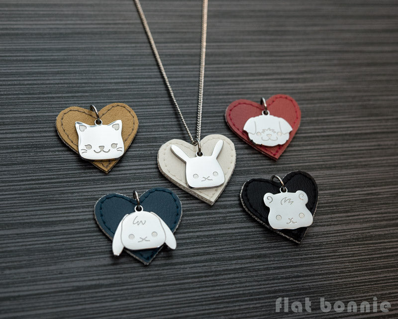 Cute animal charm necklace with vinyl heart - Kawaii jewelry - Bunny, Dog, Cat, Guinea Pig - 1