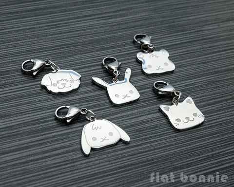 Cute animal charm - Kawaii zipper pull  - Backpack accessory - Bunny, Dog, Cat, Guinea Pig - 2