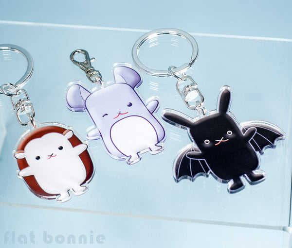 Flat Bonnie Keyring - 5 designs - with keychain or clasp hook - Keyring - Flat Bonnie - 3