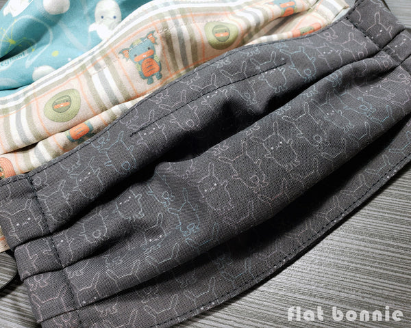 Flat-Bonnie-Pleated-Face-Mask-Cover-Black-Grey-Teal-Peach-4