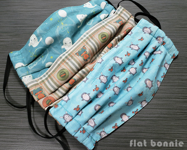 Flat-Bonnie-Pleated-Face-Mask-Cover-Black-Grey-Teal-Peach-2