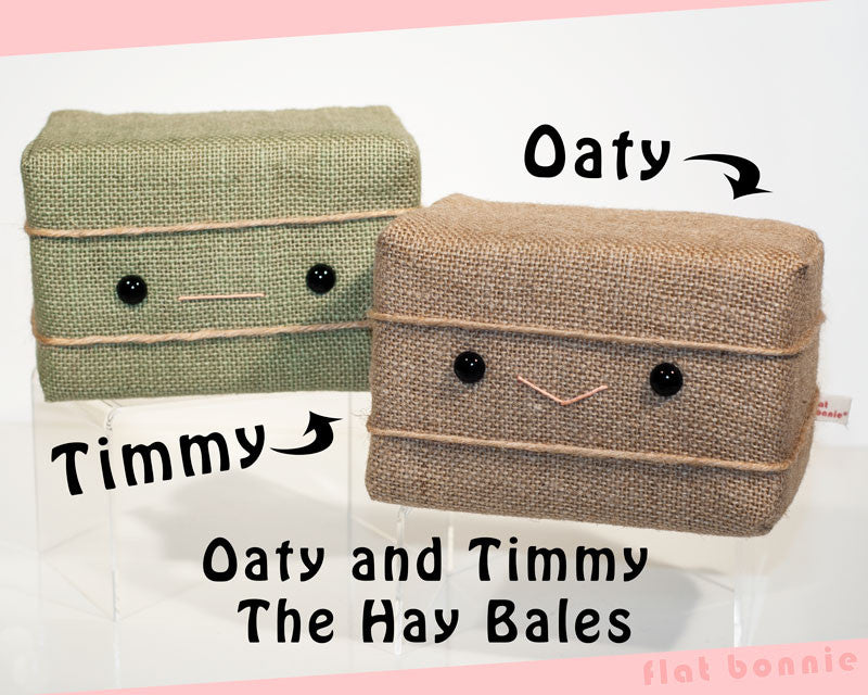 Hay Bale plush - Oaty and Timmy the Hay Bales - Plush Non Animal - Flat Bonnie - 1