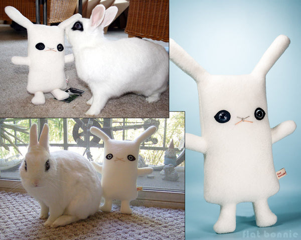Hotot bunny plush - Handmade rabbit stuffed animal - Blanc de Hotot - Plush Stuffed Animal - Flat Bonnie - 2