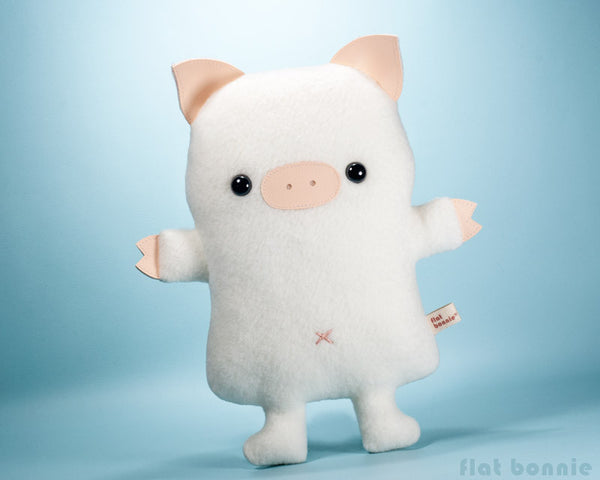 Cute pig stuffed animal - Kawaii piggy plush - Handmade soft toy - Plush Stuffed Animal - Flat Bonnie - 3