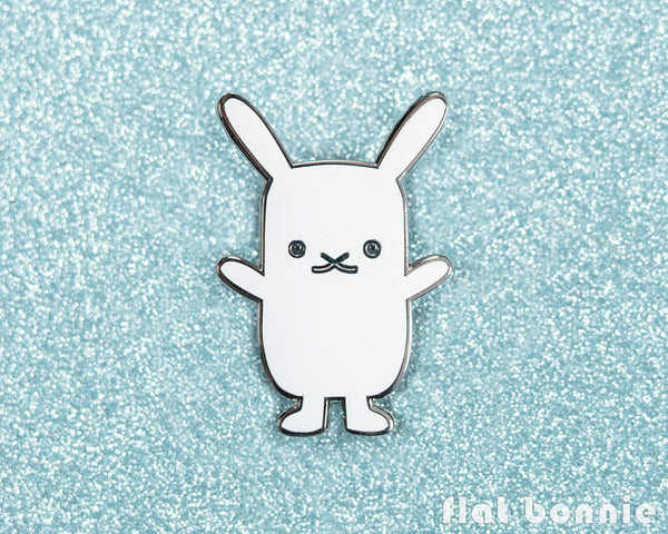 Flat Bonnie bunny enamel pin - Cute rabbit jewelry jacket pin - Cloisonné lapel pin - Enamel Lapel Pin - Flat Bonnie - 2