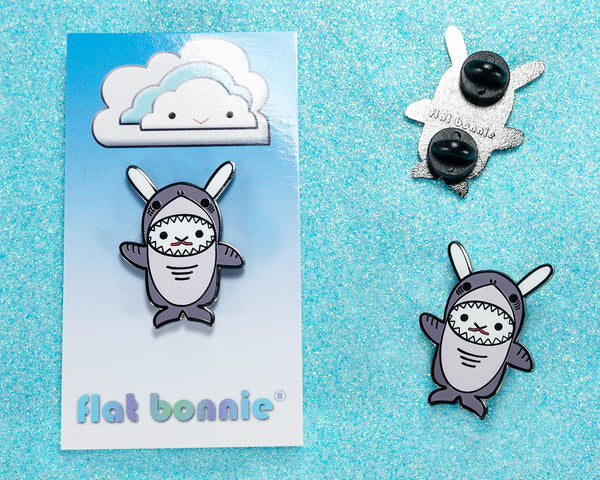 Kawaii Bunny x Shark enamel pin - Flat Bonnie in her Shark costume - Enamel Lapel Pin - Flat Bonnie - 1