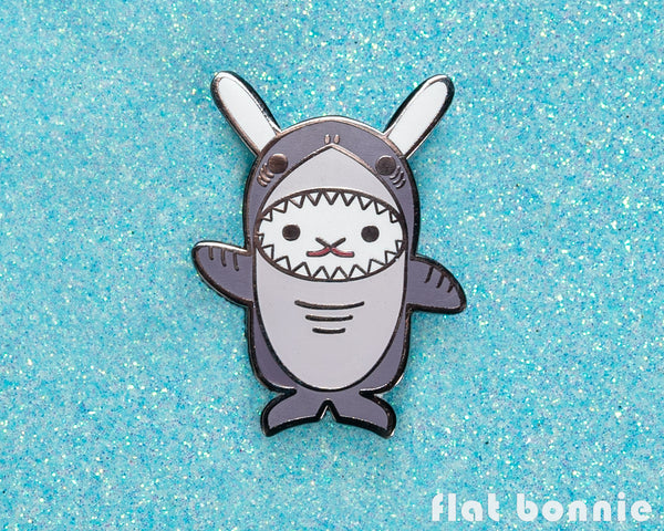 Kawaii Bunny x Shark enamel pin - Flat Bonnie in her Shark costume - Enamel Lapel Pin - Flat Bonnie - 2