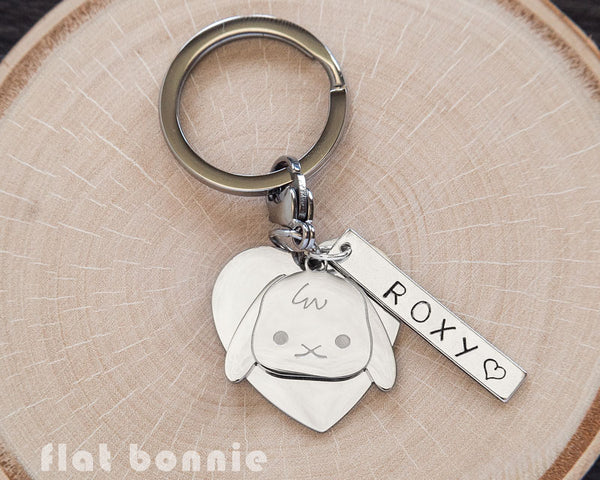 Personalized animal charm keyring - Kawaii keychain - Bunny, Dog, Cat, Guinea Pig - 1