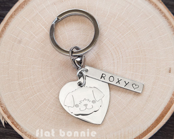 Personalized animal charm keyring - Kawaii keychain - Bunny, Dog, Cat, Guinea Pig - 3