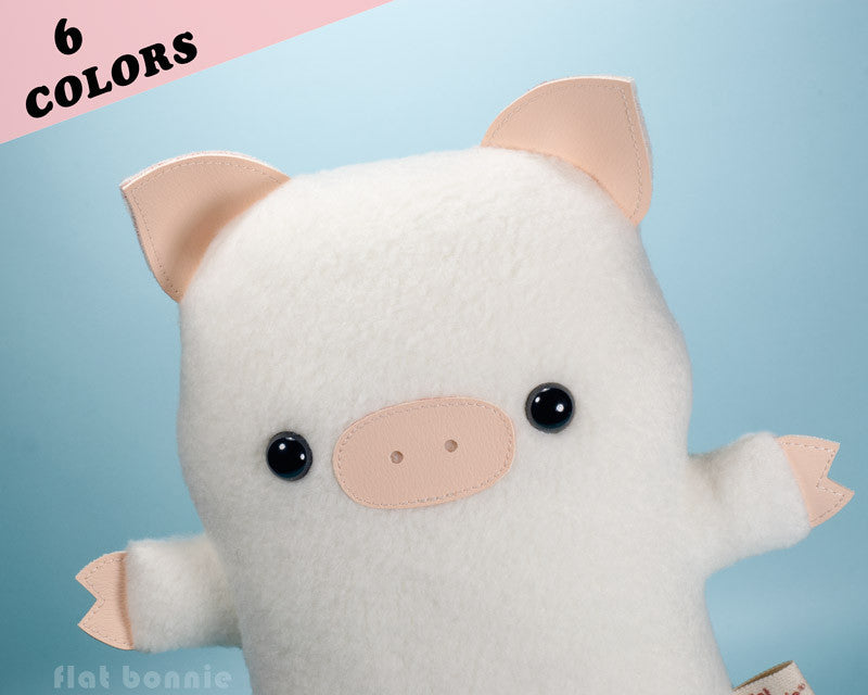 Cute pig stuffed animal - Kawaii piggy plush - Handmade soft toy - Plush Stuffed Animal - Flat Bonnie - 1