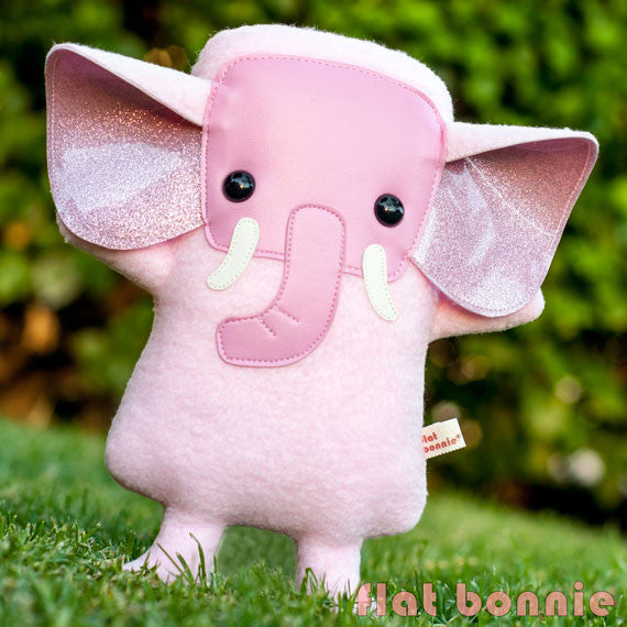 Pink Elephant stuffed animal - Handmade Elephant plush doll - Plush Stuffed Animal - Flat Bonnie - 2