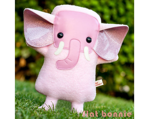 Pink Elephant stuffed animal - Handmade Elephant plush doll - Plush Stuffed Animal - Flat Bonnie - 1