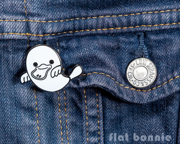 Platypus Ghost enamel pin - Glow in the Dark - GID enamel pin - Cloisonné lapel pin - Enamel Lapel Pin - Flat Bonnie - 3