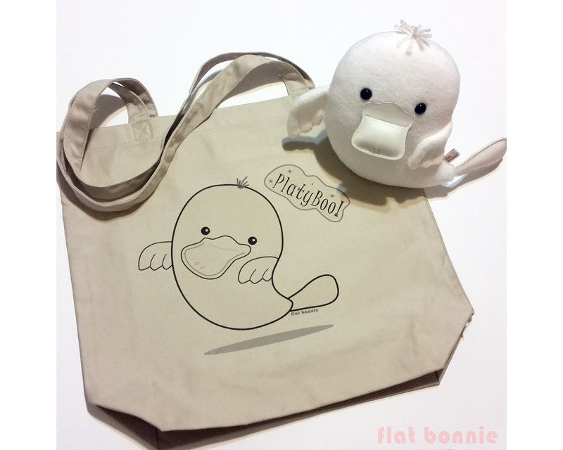 PlatyBoo the Ghost Platypus Plush & Organic Tote Bag Set - Tote Bag - Flat Bonnie - 1