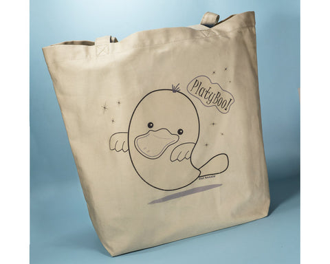 PlatyBoo the Platypus Ghost - Organic Tote Bag - Tote Bag - Flat Bonnie - 1