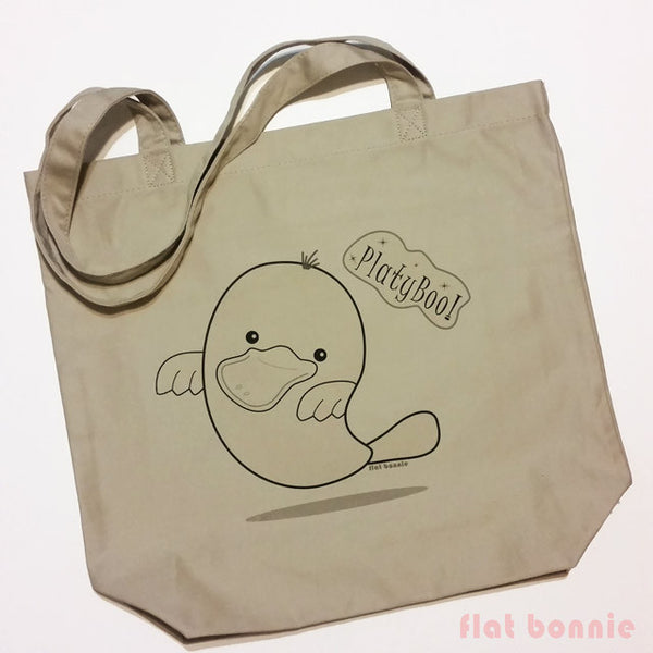 PlatyBoo the Ghost Platypus Plush & Organic Tote Bag Set - Tote Bag - Flat Bonnie - 3