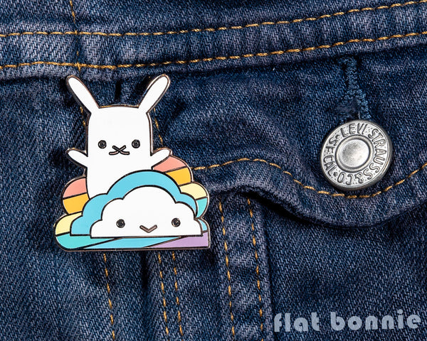 Rainbow Cloud with Bunny enamel pin - Kawaii enamel pins - Cloisonné lapel pin - Enamel Lapel Pin - Flat Bonnie - 2