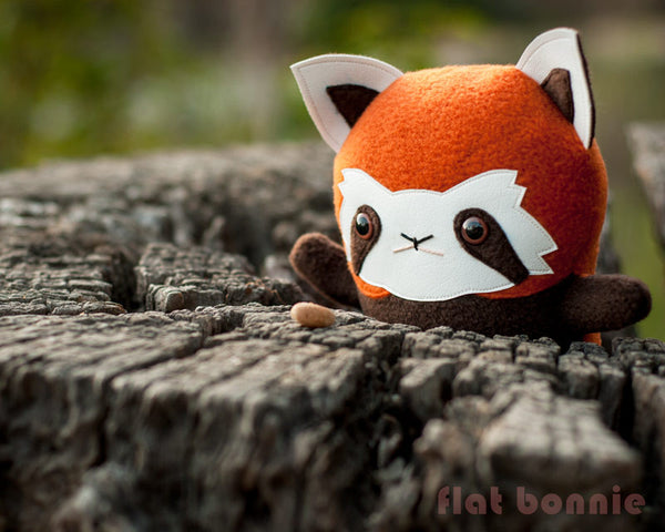 Red Panda stuffed animal - Handmade plush - aka Firefox, Lesser Panda - Plush Stuffed Animal - Flat Bonnie - 1