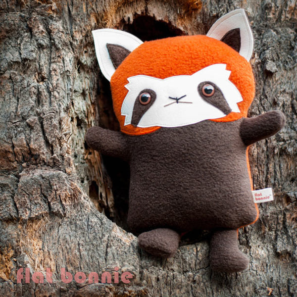 Red Panda stuffed animal - Handmade plush - aka Firefox, Lesser Panda - Plush Stuffed Animal - Flat Bonnie - 3