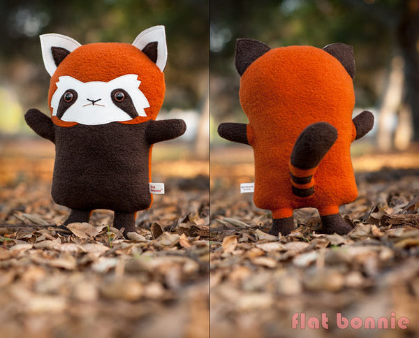Red Panda stuffed animal - Handmade plush - aka Firefox, Lesser Panda - Plush Stuffed Animal - Flat Bonnie - 2