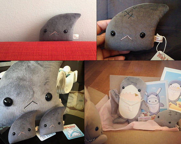 Shark Fin plush (small) - Don't eat me - 2 options - with or without scar - Plush Stuffed Animal - Flat Bonnie - 2