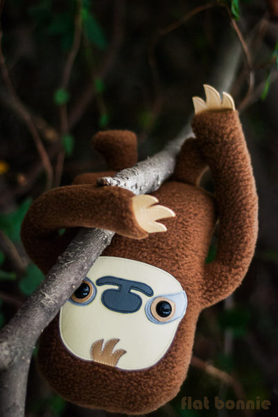 Sloth plush stuffed animal -  Manny the Sloth - Handmade plush toy - Plush Stuffed Animal - Flat Bonnie - 4