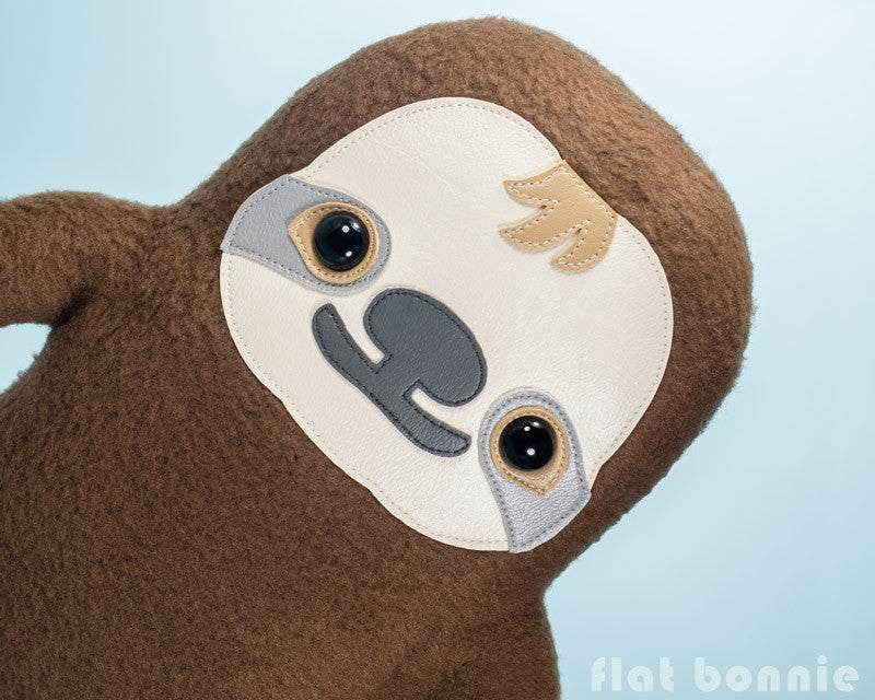 Sloth plush stuffed animal -  Manny the Sloth - Handmade plush toy - Plush Stuffed Animal - Flat Bonnie - 1