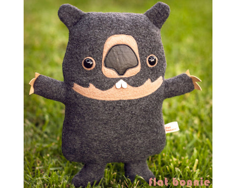 Wombat stuffed animal plush - Handmade Wombat toy doll - Plush Stuffed Animal - Flat Bonnie - 1