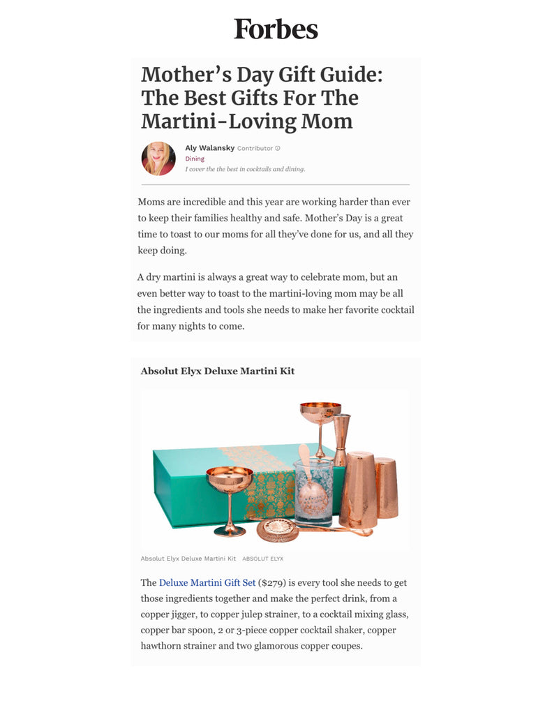 Absolut Elyx Deluxe Martini Kit in Forbes Magazine's Mother's Day Gift Guide