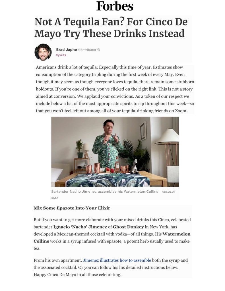 Absolut Elyx Cinco de Mayo drinks on Forbes