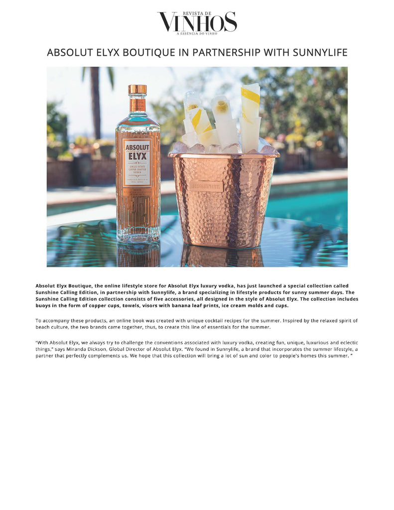 Absolut Elyx Boutique x Sunnylife in Revistas de Vinhos