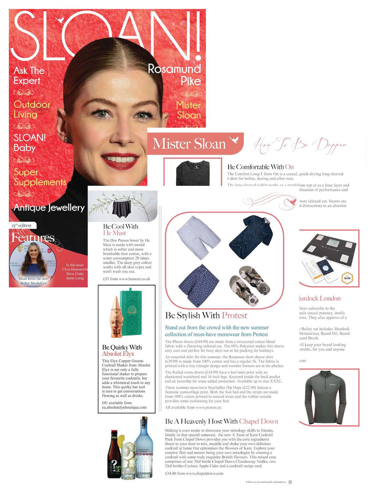 Absolut Elyx Boutique's Copper Gnome Shaker in SLOAN! Magazine's Mister Sloan column on 'how to be dapper'.