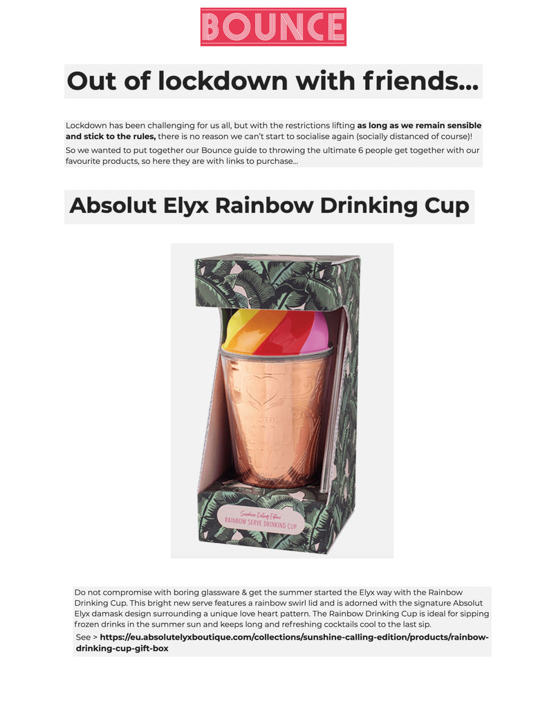 Out of lockdown with friends… & Absolut Elyx Rainbow Drinking Cup