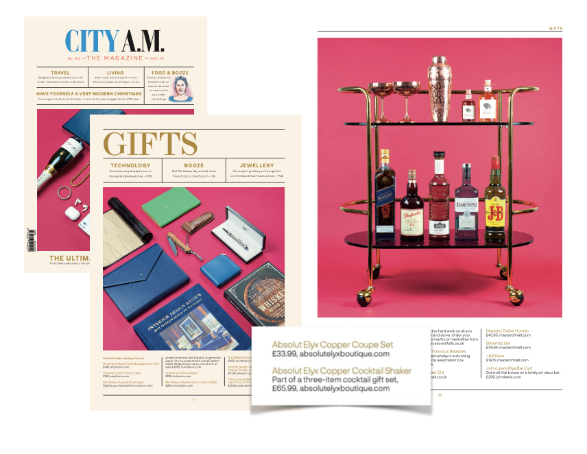 Absolut Elyx Boutique Bar Tools in the City A.M Magazine's Gift Guide