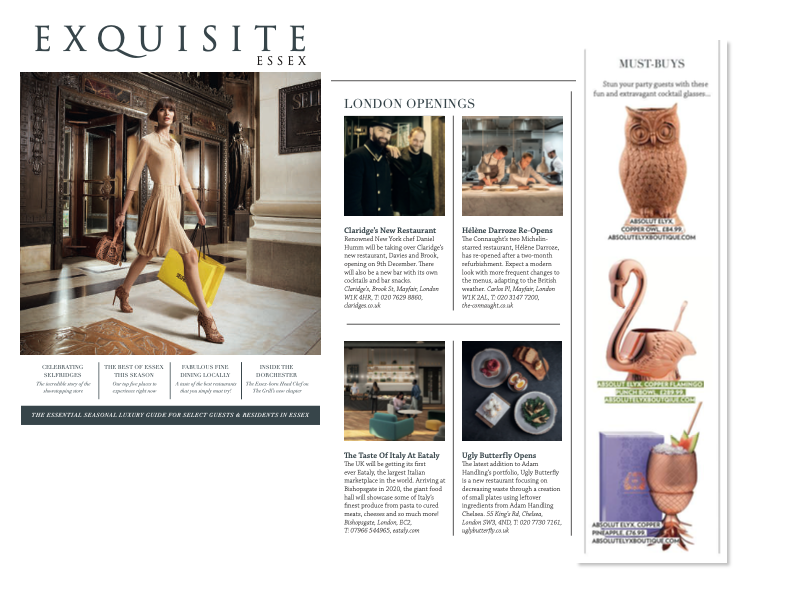 Absolut Elyx Boutique Drinking Vessels in Exquisite Essex: The essential seasonal luxury guide